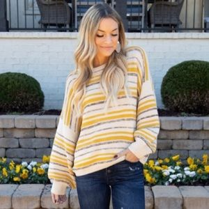 NWOT yellow striped sweater